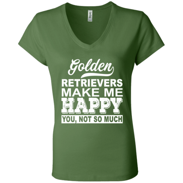 Golden Retrievers Make Me Happy V-Neck Tee -