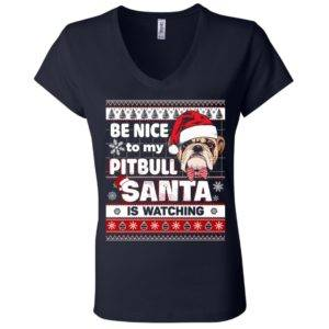 Be Nice To My Pitbull Santa Is Watching V-Neck Tee