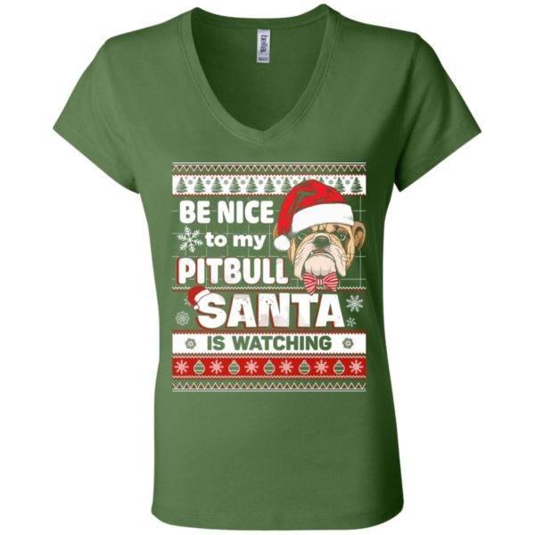 Be Nice To My Pitbull Santa Is Watching V-Neck Tee