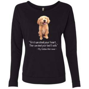 First We Steal Your Heart, Graphic Golden Retriever Neck Sweatshirt