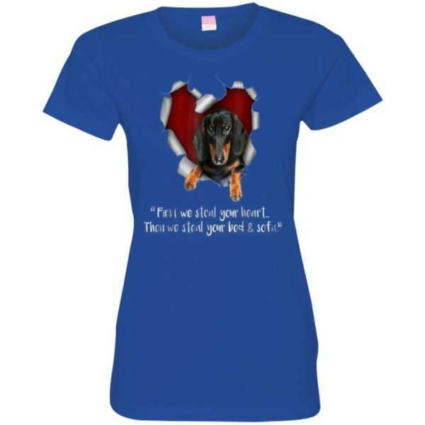 Dachshund First We Steal Your Heart Fitted Tee