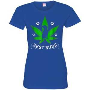 Best Buds Funny Pitbull Weed Dog Fitted Tee